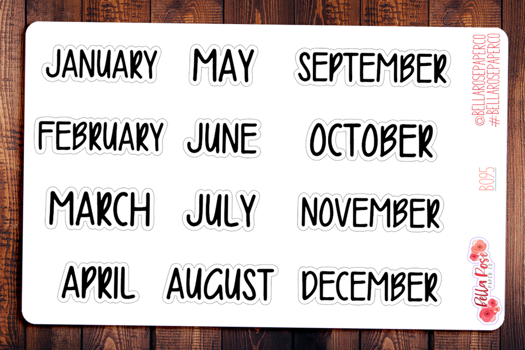 Monthly Lettered Planner Stickers B095
