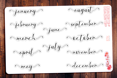 Monthly Lettered Planner Stickers B096