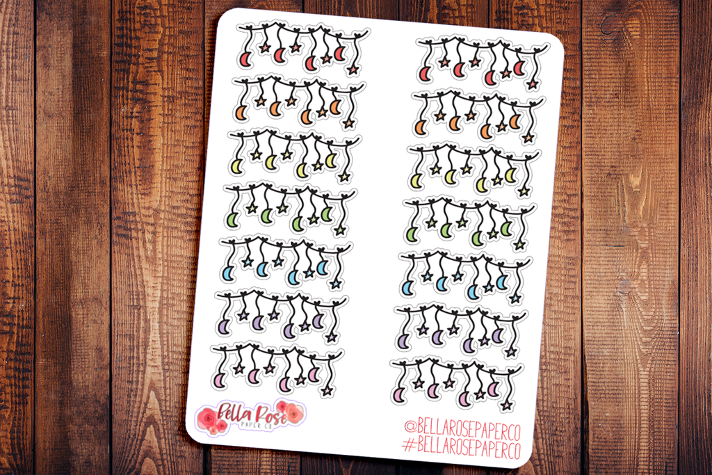 Stars and Moons Doodle Hand Drawn Planner Stickers