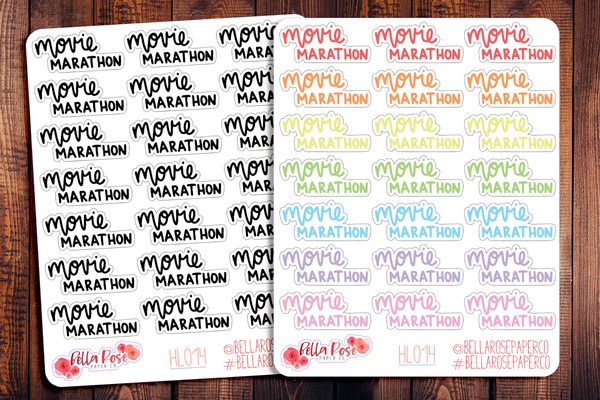 Movie Marathon Hand Lettering Planner Stickers HL014