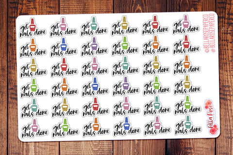 Get Nails Done Glitter Lettering Planner Stickers