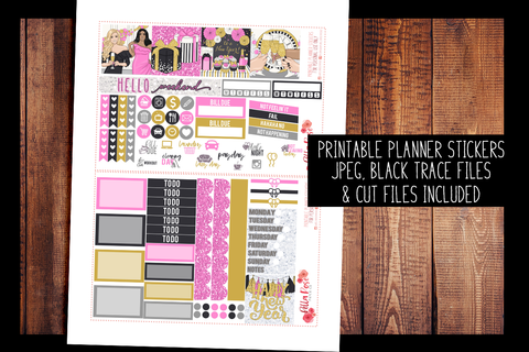 New Years Mini Happy Planner Kit | PRINTABLE PLANNER STICKERS