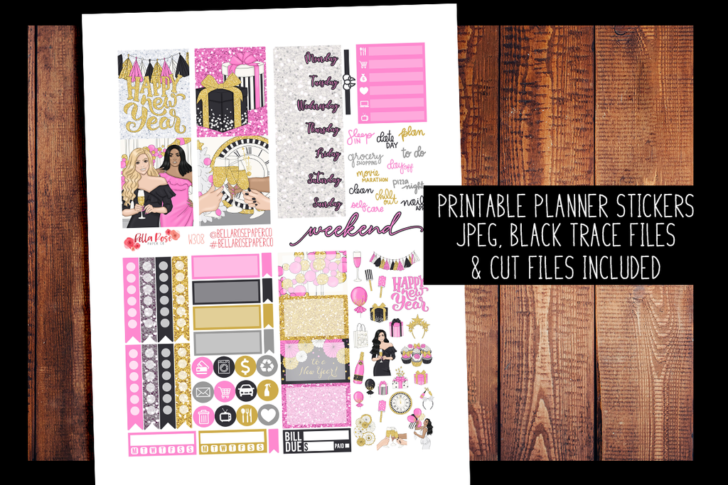 New Years Mini Planner Kit | PRINTABLE PLANNER STICKERS