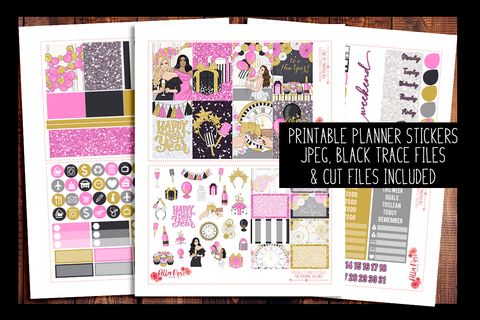 New Years Happy Planner Kit | PRINTABLE PLANNER STICKERS