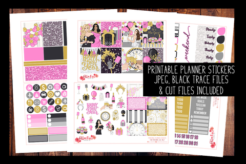 New Years Planner Kit | PRINTABLE PLANNER STICKERS