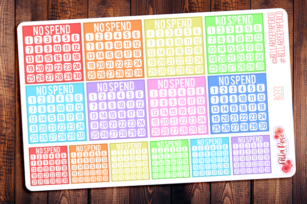 No Spend Tracker Planner Stickers B035