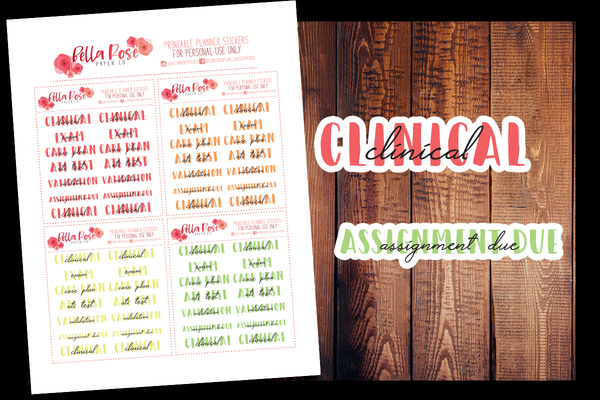 Nursing Student BUJO Style Planner Stickers | PRINTABLE PLANNER STICKERS