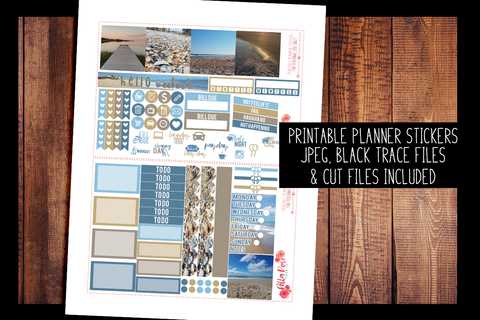 Outer Banks Photo Mini Happy Planner Kit | PRINTABLE PLANNER STICKERS