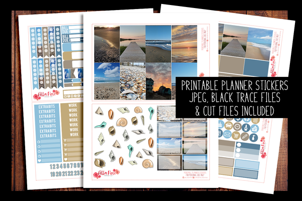 Outer Banks Photo Happy Planner Kit | PRINTABLE PLANNER STICKERS