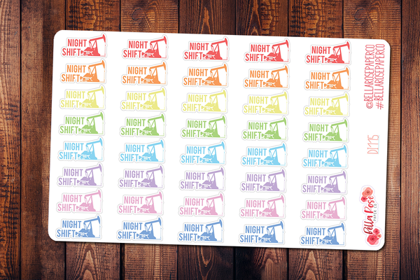 Oilfield Night Shift Planner Stickers DI115