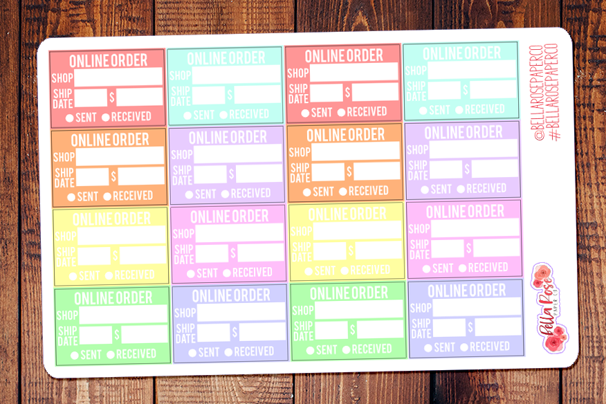 Pastel Online Order Tracking Planner Stickers