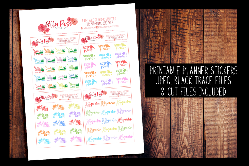 Yard Work Planner Stickers | PRINTABLE PLANNER STICKERS