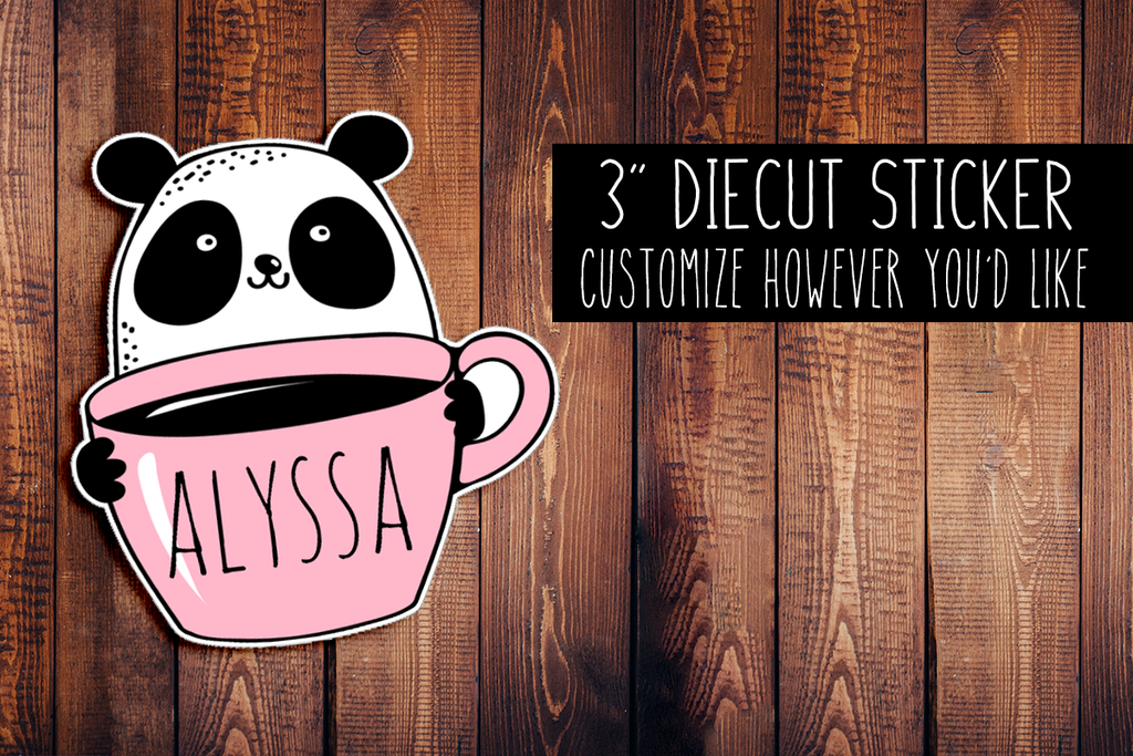 Panda With Coffee Customizeable Diecut Sticker