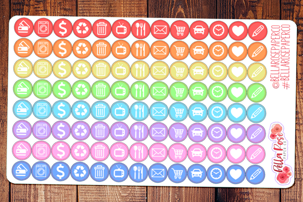 Basic Icons, Personal Sized Planner Stickers