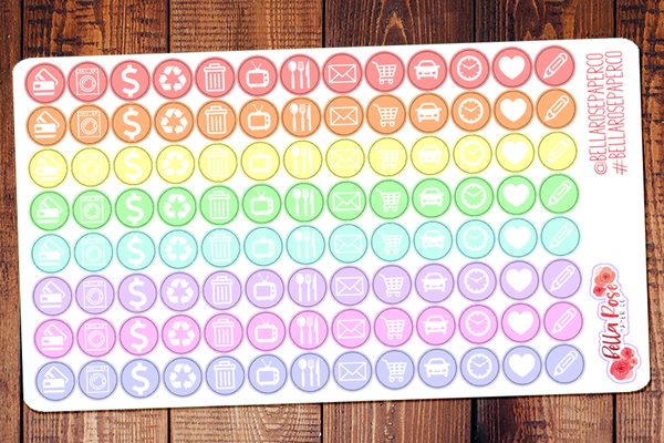 Pastel Basic Icons, Personal Sized Planner Stickers