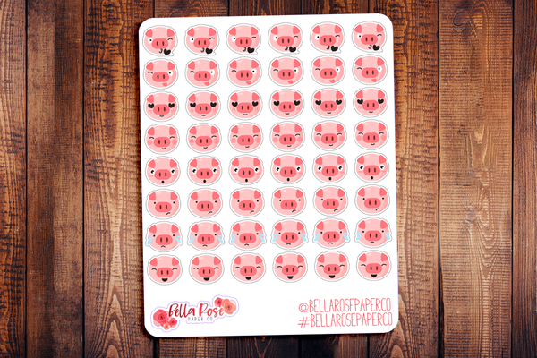 Pig Emoti Character Planner Stickers E001