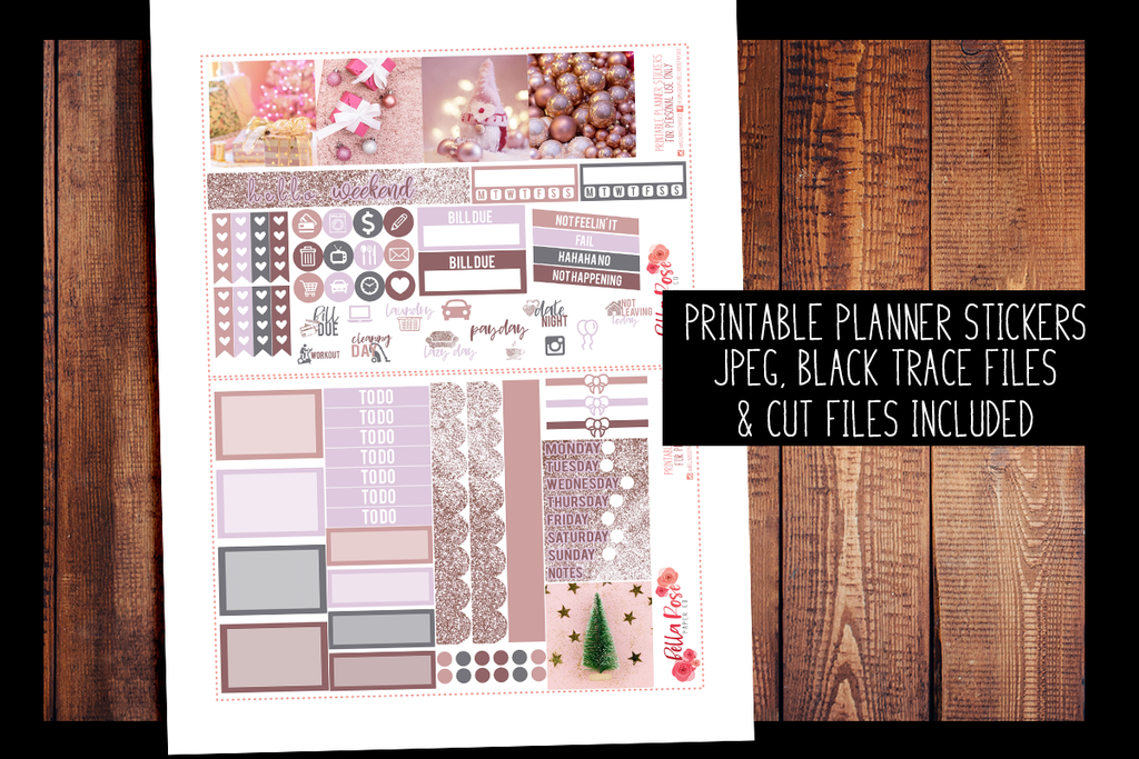 Pinkmas Mini Happy Planner Kit | PRINTABLE PLANNER STICKERS