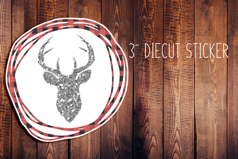 Buffalo Plaid Deer Wreath Christmas Diecut Sticker