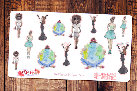 Planner Girls Around The World Hand Painted Watercolor Planner Stickers