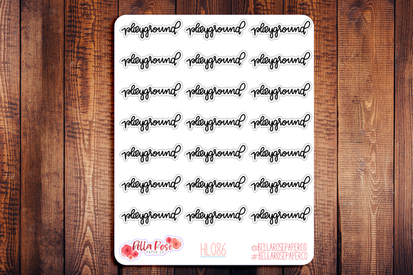 Playground Hand Lettering Planner Stickers HL086
