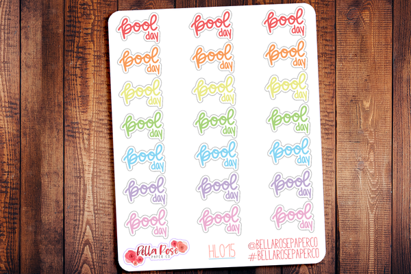 Pool Day Hand Lettering Planner Stickers HL015