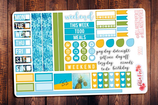 Pool Party Photo Hobonichi Weeks Sticker Kit SM201