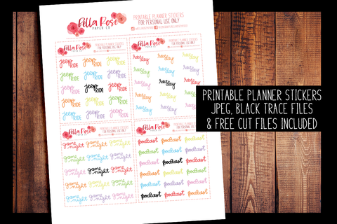 Hobby Hand Lettered Planner Stickers | PRINTABLE PLANNER STICKERS
