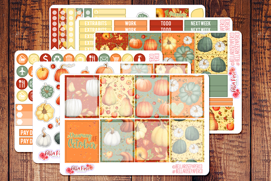Autumn Pumpkins Planner Sticker Kit F004