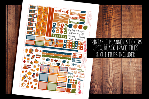 Pumpkin Picking Hobonichi Weeks Kit | PRINTABLE PLANNER STICKERS