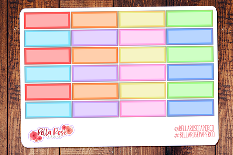 Rainbow Quarter Box Planner Stickers