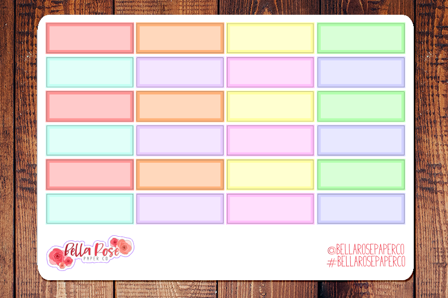 Pastel Quarter Box Planner Stickers B024