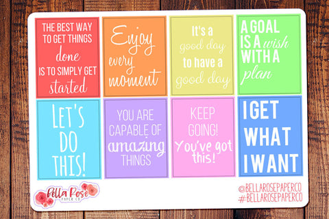 Motivational Quote Full Box Planner Stickers
