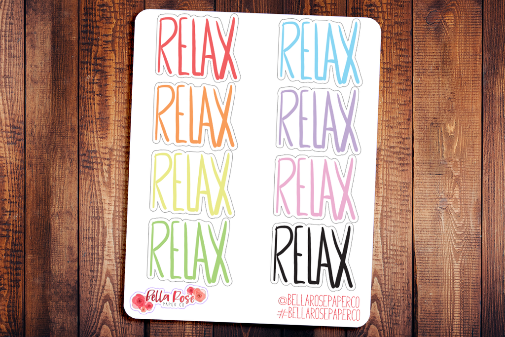 Relax Doodle Hand Drawn Planner Stickers