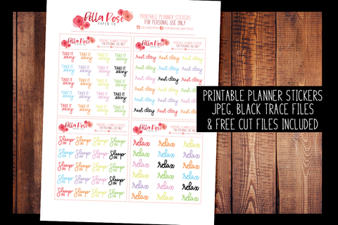 Relaxing Hand Lettered Planner Stickers | PRINTABLE PLANNER STICKERS
