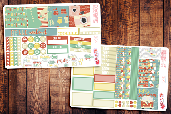 Retro Summer Mini Happy Planner Sticker Kit SM015