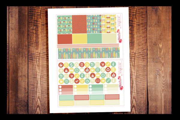Retro Summer Kit | PRINTABLE PLANNER STICKERS
