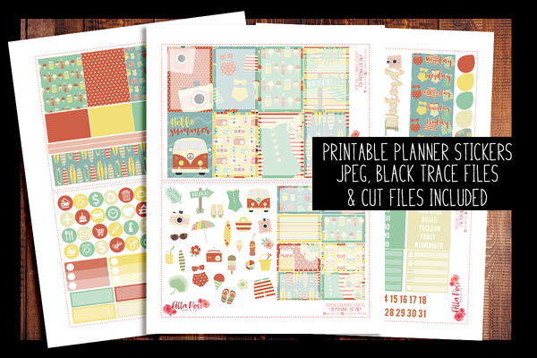 Retro Summer Happy Planner Kit | PRINTABLE PLANNER STICKERS