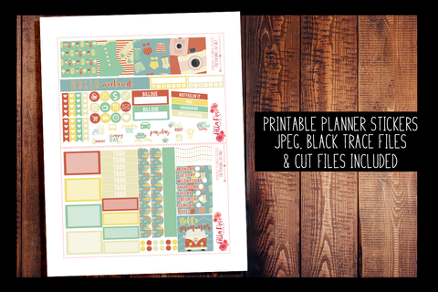 Retro Summer Mini Happy Planner Kit | PRINTABLE PLANNER STICKERS