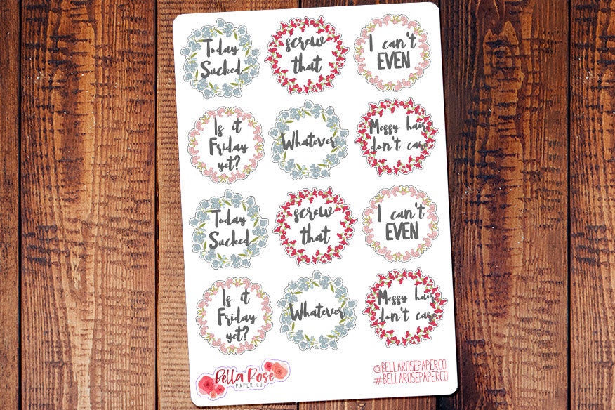 Sassy Floral Lettering Planner Stickers