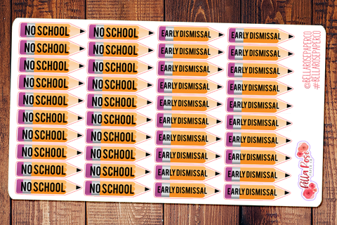 No School/Early Dismissal Pencils Student Planner Stickers S008