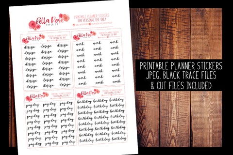 Script Planner Stickers 001-004 | PRINTABLE PLANNER STICKERS
