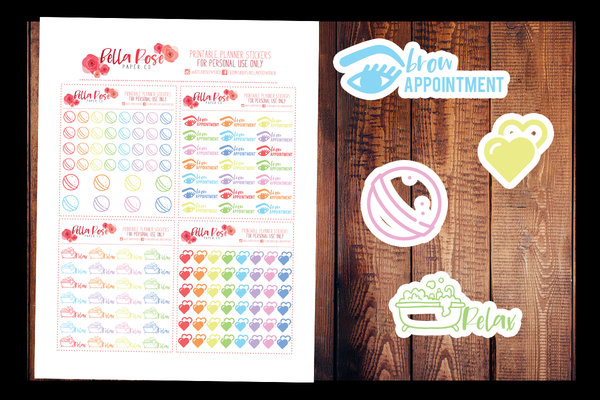Self Care | PRINTABLE PLANNER STICKERS