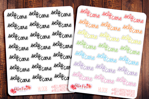 Self Care Hand Lettering Planner Stickers HL008