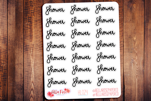 Shower Hand Lettering Planner Stickers HL024