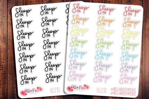 Sleep In Hand Lettering Planner Stickers HL010