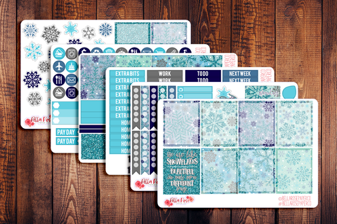 Snowflakes Planner Sticker Kit W003
