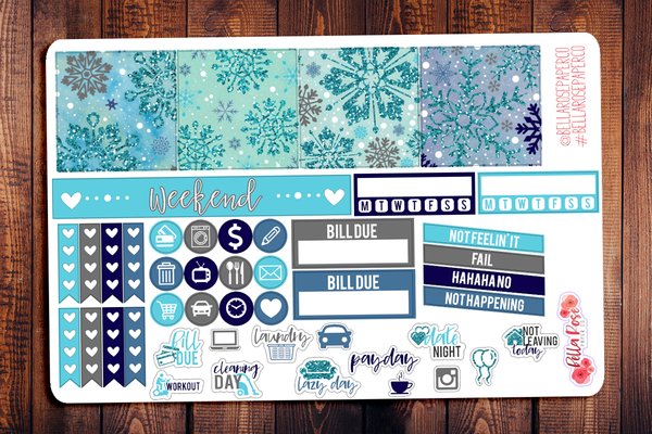 Snowflakes Mini Happy Planner Sticker Kit W003
