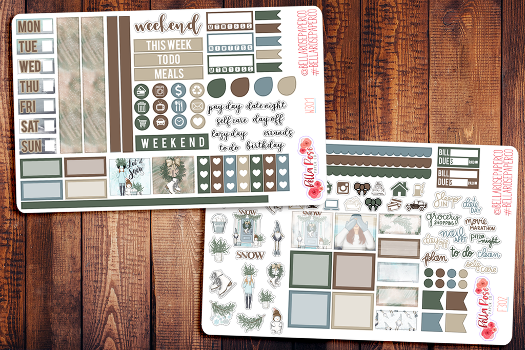 Let It Snow Hobonichi Weeks Sticker Kit W301