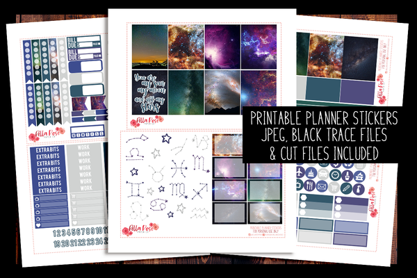 Under The Stars Happy Planner Kit | PRINTABLE PLANNER STICKERS