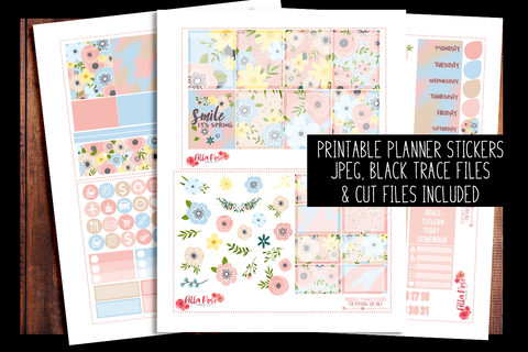 Spring Florals Planner Kit | PRINTABLE PLANNER STICKERS